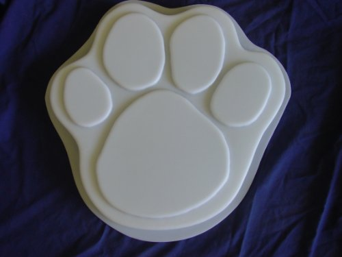 Dog Cat 13 Inch Paw Print Stepping Stone Concrete Plaster Mold (Cement Stepping Stone Mold)