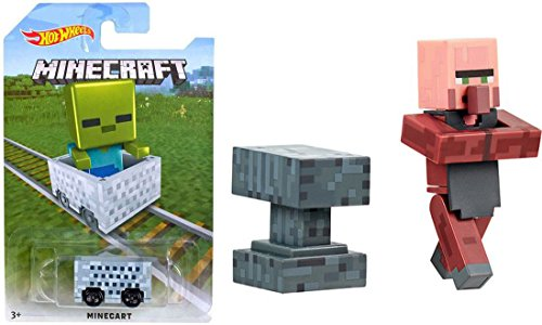 MineCart Hot Wheels Green Zombie Character Exclusive with Overworld Blacksmith Villager with Accessories Series #2 Ride-Ons Compatible with Minecraft Character Mini figures