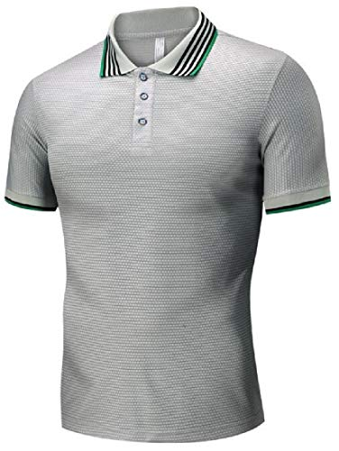(Jotebriyo Mens Pure Color Stand Collar Summer Short Sleeve Slim Fit Polo Shirts Grey XS)