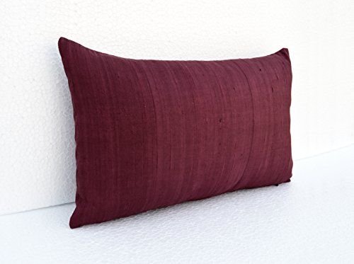 Pure Silk pillow Cover, Wine color, Plum color Maroon lumbar Pillow cover, size available (12X20)
