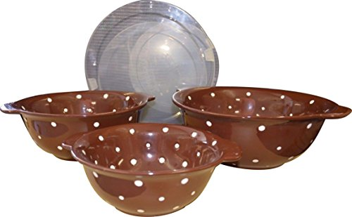 Temp-tations Mixing or Serving Bowls Set of 3 Nesting Polka Dot Chocolate 3,2 & 1 Quart - INCLUDES Covers