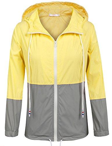SoTeer Women's Waterproof Raincoat Outdoor Hooded Rain Jacket Windbreaker (Yellow XXL) ()