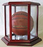 Autographed Full size Basketball or Soccer Display Case Holder, Hexagon shape, Cherry Finish
