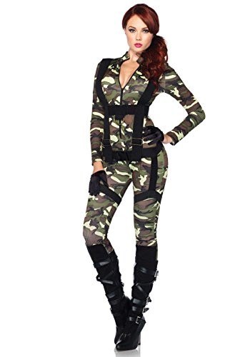[Leg Avenue Women's 2 Piece Pretty Paratrooper Costume, Camo, Small] (Halloween Costumes For 4 People)