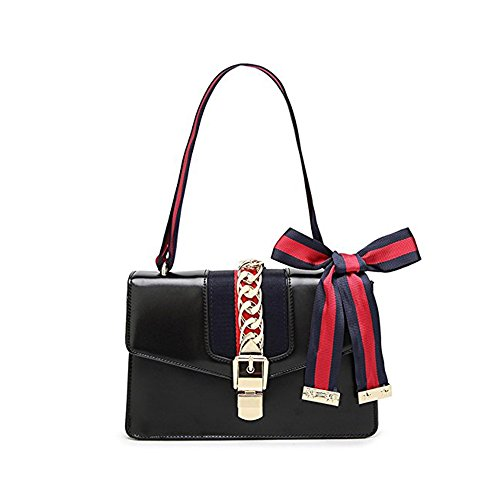 Beatfull Designer Pu Handbags for Women, Fashion Leather Shoulder Bag Cross Body Bag with a Bow Tie (New Black) (Designer New Handbags)