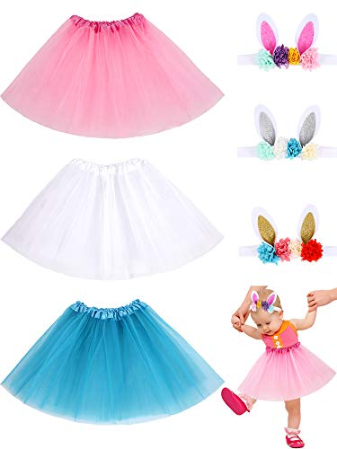 6 Pieces Kids Costume Accessory Set Girls Ballet Tutu and Bunny Headband for Birthday Theme Party