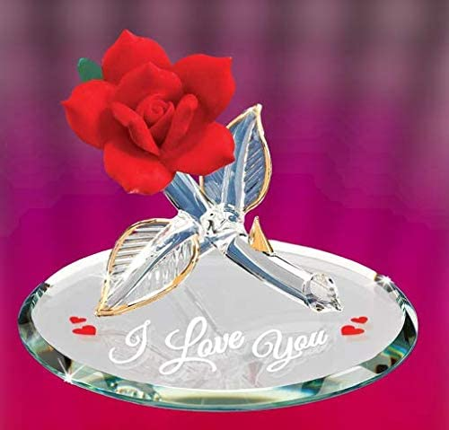 Glass Baron I Love You Red and Gold Rose Large