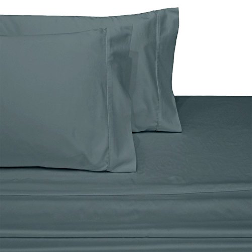 sheetsnthings Un-Attached Waterbed Sheet Set, 100% Cotton -Solid Grey, California King Size- 600TC, Soft Watered ()