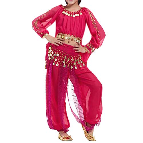 BellyLady Kid Tribal Belly Dance Costume, Harem Pants & Top for Halloween-Rose red-M