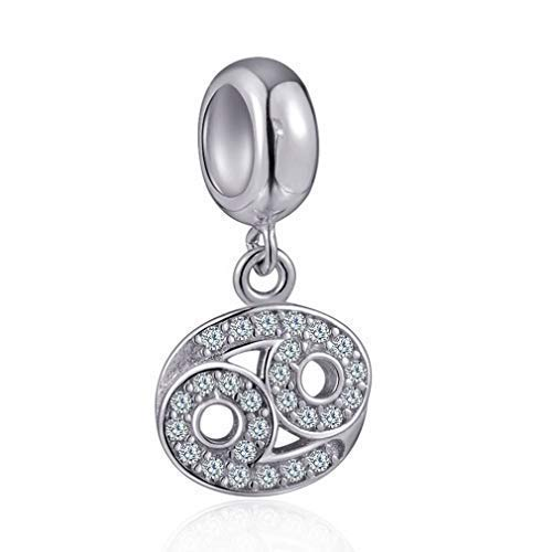 Cancer Zodiac Sign Charms for Pandora Charm Bracelets - 925 Sterling Silver Necklace Pendants, 12 Constellation/Horoscope Star Dangle - Dangling Birthstone Beads, Birthday Gifts - Zodiac Silver Bead Sterling
