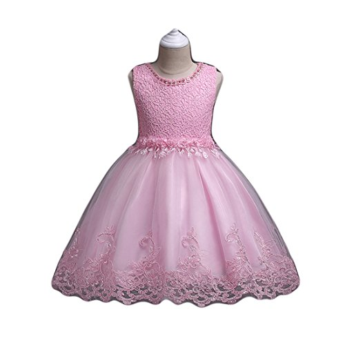 FKKFYY Pink Flower Girl Pageant Dresses For Toddler Children Girls 4T Bridal Wedding Tulle Dress Party Ball Gown A-Line Knee Length Birthday Gowns Elegant Size 10-12 Coral Pink (Pink 130) (Pageant Girl Toddler Dress Flower)