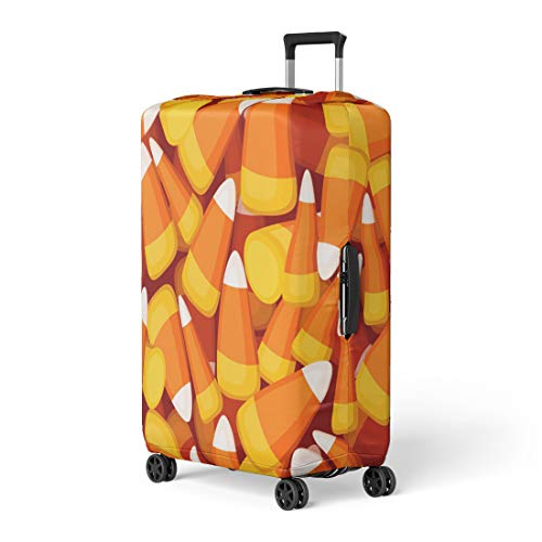 Pinbeam Luggage Cover Orange Halloween Candy Corn Yellow Pattern October Abstract Travel Suitcase Cover Protector Baggage Case Fits 22-24 -