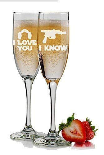 Star Wars Inspired - I Love You I Know - Bride & Groom Champagne Flutes Set of 2 Glasses - 6 oz Personalized Custom Engraved Mr and Mrs Toasting Wedding Gift - Optional Name and Date - Groom Design Toasting Flutes