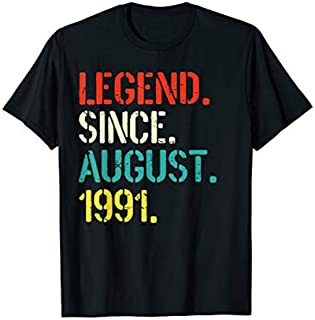 Legend Since August 1991 28th Birthday Gift 28 Yrs Old T-shirt | Size S - 5XL