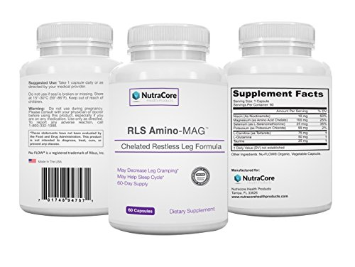#1 Rated RLS Amino-MAG|Advanced Restless Leg Supplement|Pharma Grade Chelated Magnesium Designed for Maximum Absorption|Two Month Supply!|60 Organic Capsules|Made in USA!