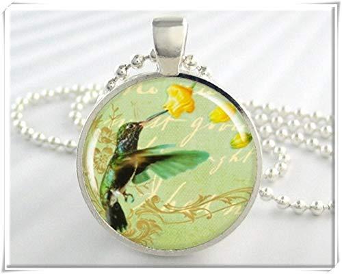 Hummingbird Art Pendant,Hummingbird Jewelry,Exquisite Jewelry, Dome Glass Jewelry, Handmade.