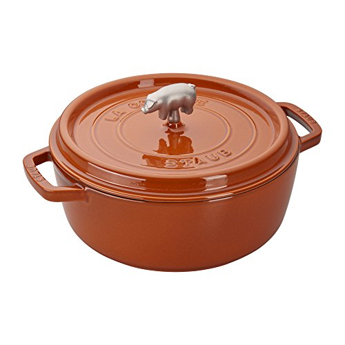 Staub 196128806 Cast Iron Cochon Shallow Wide Round Cocotte, 6-quart, Burnt Orange