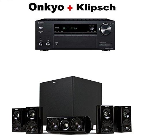 Onkyo TX-NR585 Receiver + Klipsch HDT-600 Home Theater System Bundle