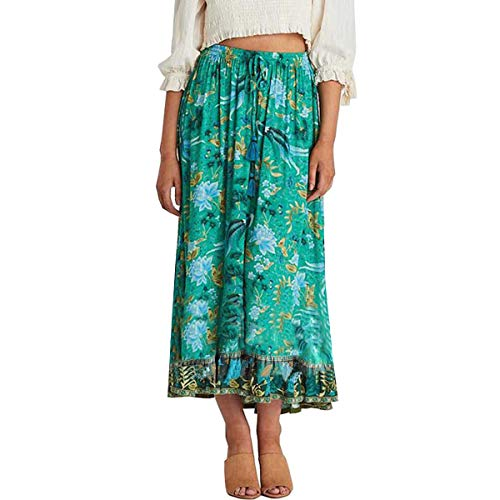 R.Vivimos Womens Summer Cotton Vintage Floral Print Boho Casual Long Skirt (Small, Green#3)