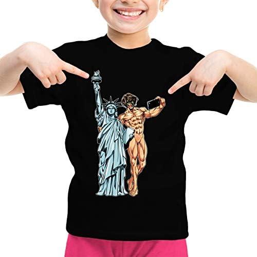 Attack on Titan Lustiges Schwarz Mädchen Kinder T-Shirt - Eren Jäger und die Freiheitsstatue (Attack on Titan Parodie) (Ref:1122)