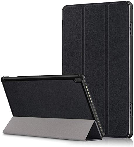 ATF Lightweight Smart Trifold Stand Microfiber Lining Case Cover for Lenovo Tab M10 HD TB-X505F TB-X505 L, Black (Will not fit M10 FHD REL (TB-X605FC / TB-X605LC)