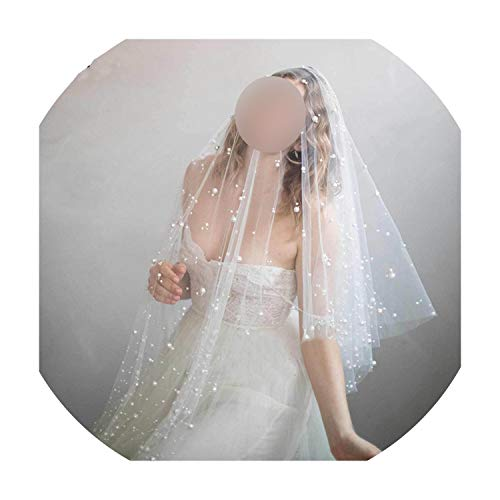 In Stock One Layer Fingertip Veil Pearls ivory wedding Accessories Cut Edge Bridal Veils voile de mariee,Ivory