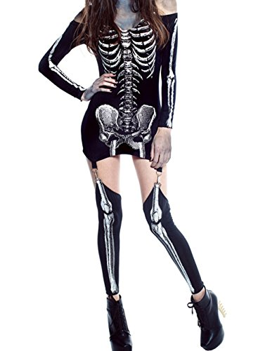 [YeeATZ X-rayed Halloween Off-shoulder Skeleton Dress Costume(Size,L)] (Skimpiest Halloween Costume)