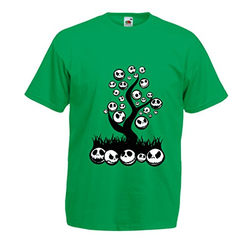 lepni.me T Shirts for Men The Nightmare Tree - Halloween Party Outfit (Large Green Multi Color) ()