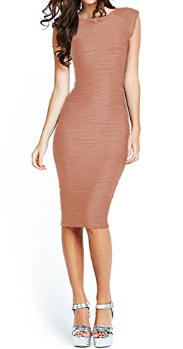 Taydey Women's Midi Dresses Sleeveless Knee Length Party Evening Dress (XL, Coral) (Knee Length Wedding Dresses Cheap)