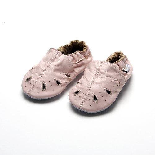 Jinwood designed by amsomo - Patucos de Piel para niña Rosa - sandal pink soft sole