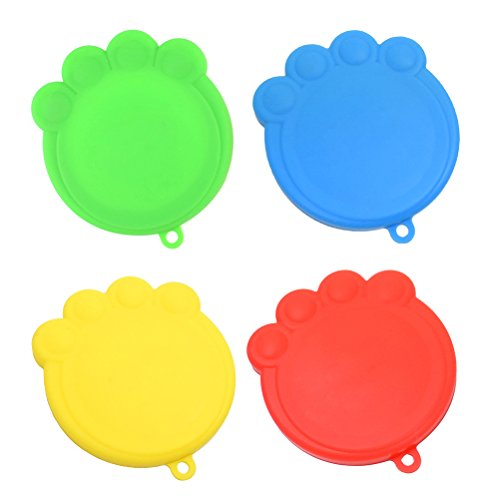 POPETPOP 4-Pack Silicone Pet Can Covers BPA Free Dog Cat Food Can Lids For Multiple Sizes by POPETPOP