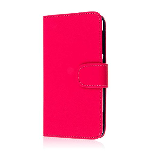MPERO HTC Desire Eye Wallet Case, [Flex Flip] Cover with Card Slots and Wrist Strap (Hot Pink / Navy Blue) (Htc Case Wallet Desire Eye)