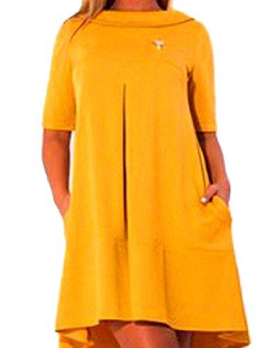 o Vestido Suelto Tama s El Color Moda Gira La Amarillo mujeres Coolred Puro M Cambio De Abajo Collar Bolsillo 14qPvUqw