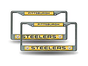 Pittsburgh Steelers Chrome Metal (2) Bling License Plate Frame Set at SteelerMania