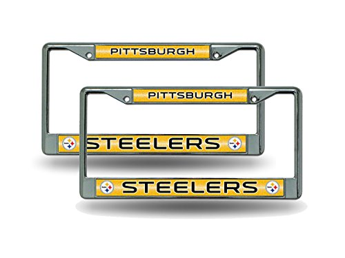 (Rico Pittsburgh Steelers Chrome Metal (2) Bling License Plate Frame Set)