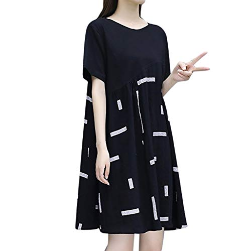Shiretel Fashion Women Knee Length Short Sleeve Splicing Round Collar Dress Black