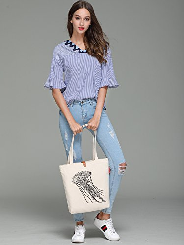 So'each Women's Jellyfish Geometry Graphic Top Handle Canvas Tote Shoulder Bag