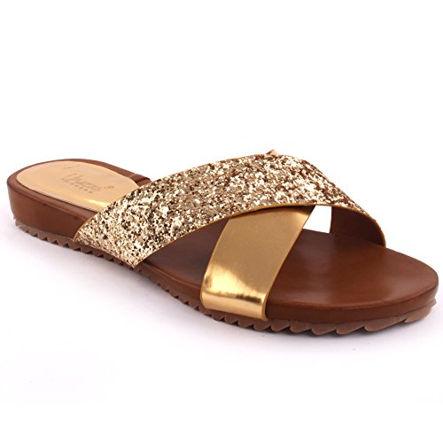 Gold Casual 8 UK Slider Abierto Glittered 'Bruno' mujeres Zapatillas Party Metallic Tamaño Get Unze Carnaval Nuevas Toe 3 Escuela Sandalias Verano Zapatos Together Beach Caqg4wBpxn