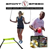 4 inch soccer cones - Sport V Speed (4 in 1 Kit) | Two Agility Ladders + Jump Rope + Agility Training Cones + Limited Edition Training DVD