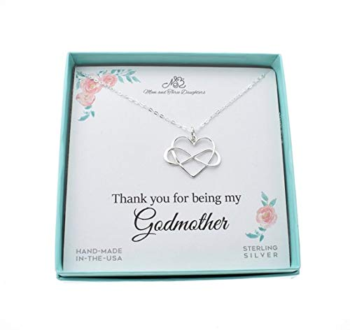 Heart Godmother (Godmother Infinity Heart Charm Pendant In Sterling Silver On An 18