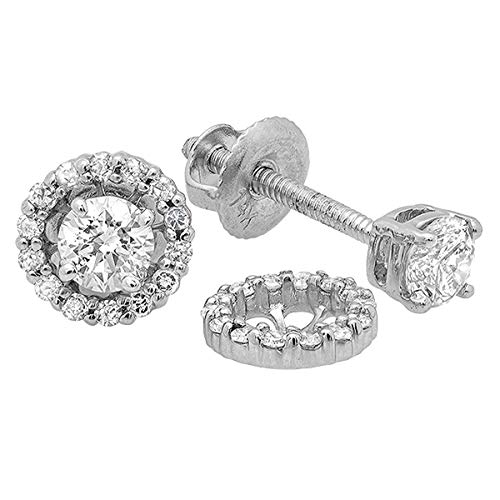 Dazzlingrock Collection 0.45 Carat (ctw) 14K Round Diamond Ladies Stud Earrings With Removable Jackets 1/2 CT, White Gold 14k Gold Diamond Earring Jackets