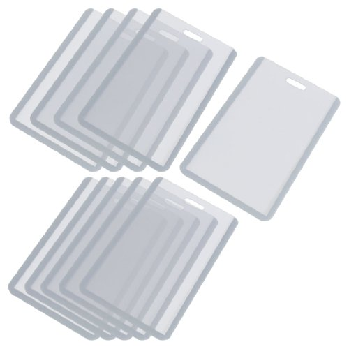 Vertical Business ID Badge Card Holder, 10 Pcs, Gray Clear]()
