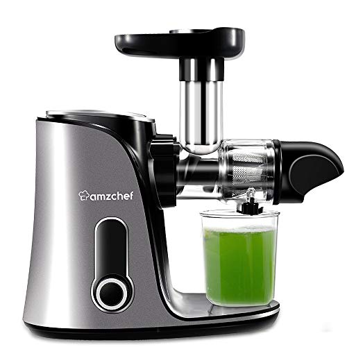 Juicer Machines,AMZCHEF Slow Masticating Juicer Extractor, Cold Press Juicer with Two Speed Modes, 2 Travel bottles(500ML),LED display, Easy to Clean Brush & Quiet Motor for Vegetables&Fruits, Gray