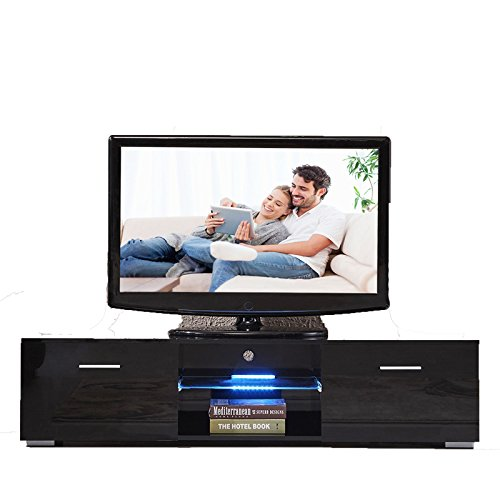Console Black LED Shelves Furniture TV Stand With 2 Drawers Unit Cabinet High Gloss Great design and premium quality