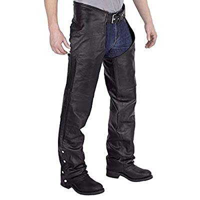 Viking Cycle Men's Plain Motorcycle Leather Chaps, from Viking Cycle