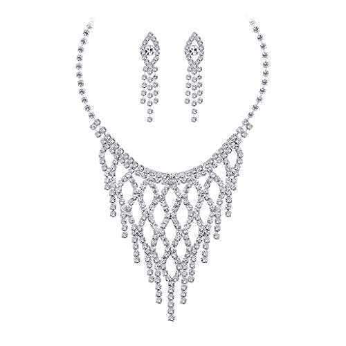 aliveGOT Silver Vintage Crystal Necklace and Earrings Jewelry Set for Prom, Bridal and Bridesmaids