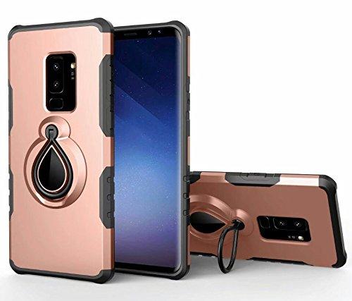 Aplicable a la carcasa del teléfono móvil Samsung Galaxy S9 plus para una combinación de suave y dura, dura dentro y fuera de la suave, fácil de quitar y soltar rojo Oro rosa