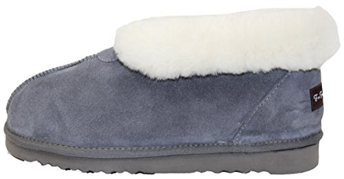 (Furfurmouton Women's Slippers Booties Australian Sheepskin E809 (10, Light Gray))