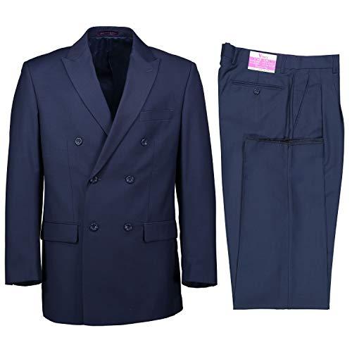 Double Breasted Flap Pocket Suit - VINCI Men's Premium Solid Double Breasted 6 Button Classic Fit Suit Blue | Size: 44 Short / 38 Waist