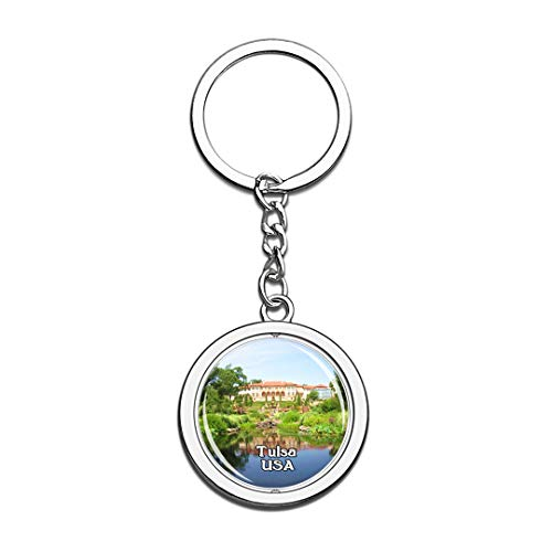 USA United States Keychain Philbrook Museum of Art Tulsa Key Chain 3D Crystal Spinning Round Stainless Steel Keychains Travel City Souvenirs Key Chain Ring -